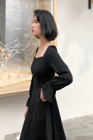 Square Cut Midi Dress-Dresses-[korean fashion]-[korean clothing]-[korean style]-SOO・JIN