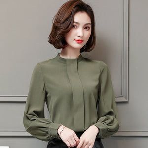 Wide Placket Solid Blouse-Blouses & Shirts-[korean fashion]-[korean clothing]-[korean style]-SOO・JIN