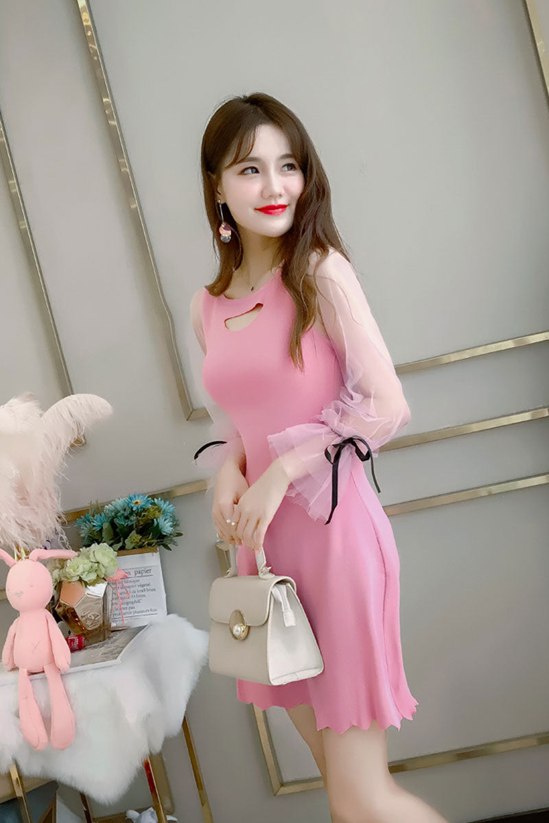 Elbow Tie Cutie Dress-Dresses-[korean fashion]-[korean clothing]-[korean style]-SOO・JIN