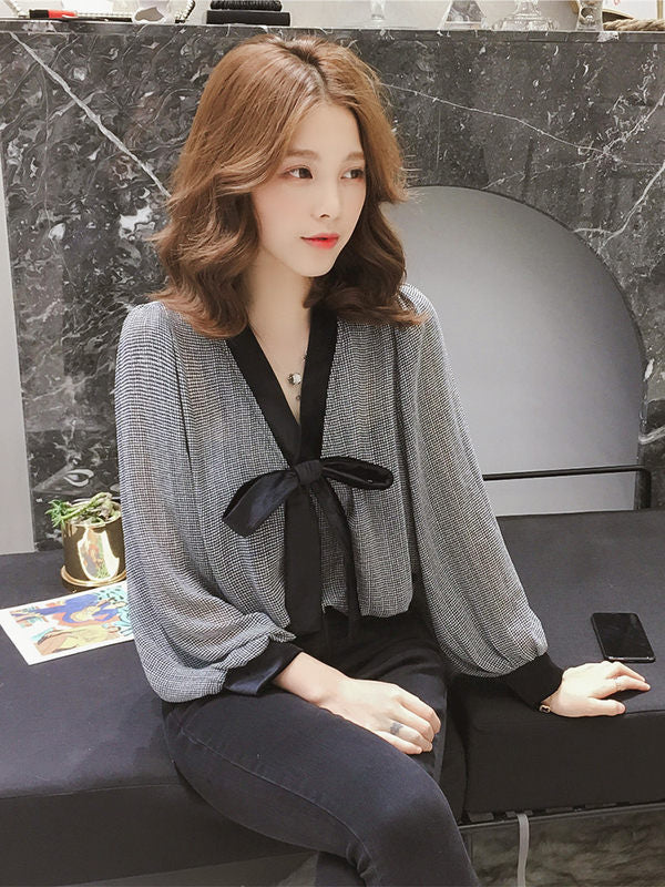 Low Knot Loose Top-Blouses & Shirts-[korean fashion]-[korean clothing]-[korean style]-SOO・JIN