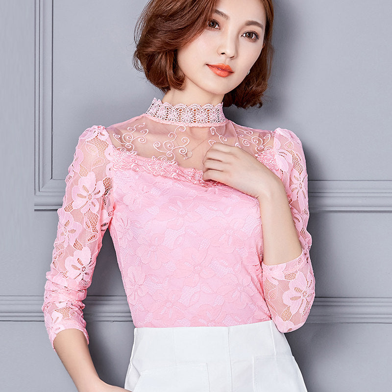 Fine Lacework Blouse-Blouses & Shirts-[korean fashion]-[korean clothing]-[korean style]-SOO・JIN