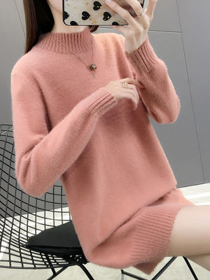 A14E Labeling Half Turtleneck Bottoming Pullover