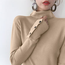 Button Sleeve Turtleneck Pullover