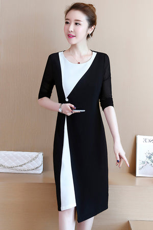 A20Q Noble Lady High-end Black and White Dress