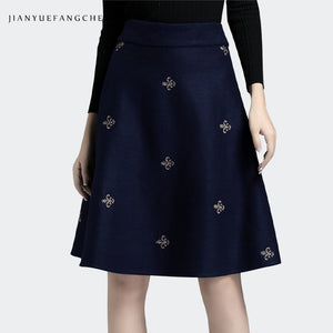 A21X Embroidered Woolen Mid-Length Skirt