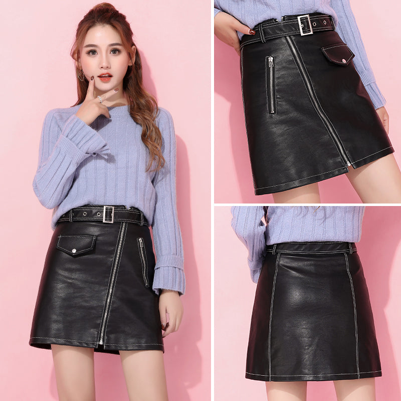 A18I  High Waist Leather Skirt