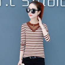 A5K Skinny striped T-shirt for women in autumn and winter of 2018