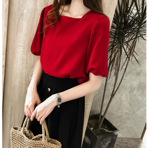 Short-sleeved Chiffon Top