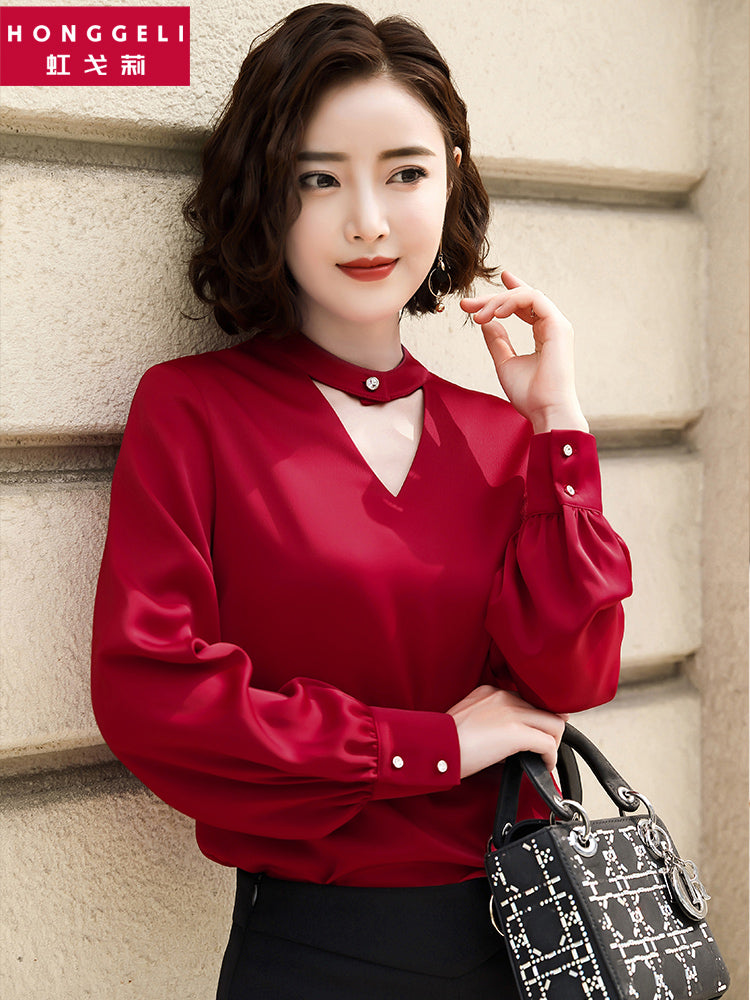 Ring V Wide Sleeve Top-Blouses & Shirts-[korean fashion]-[korean clothing]-[korean style]-SOO・JIN