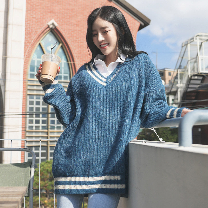 College Girl Oversized Pullover-Cardigans-[korean fashion]-[korean clothing]-[korean style]-SOO・JIN