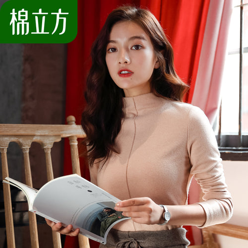 A6D Qiu dong with wool top female long sleeve 2018 new cotton cubic women's half a turtle neck t-shirts with thick coat of cultivate one's morality