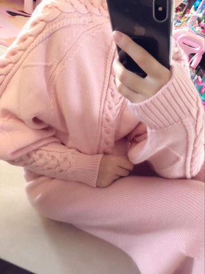 Ribbed Design One-Piece Pullover-Cardigans-[korean fashion]-[korean clothing]-[korean style]-SOO・JIN