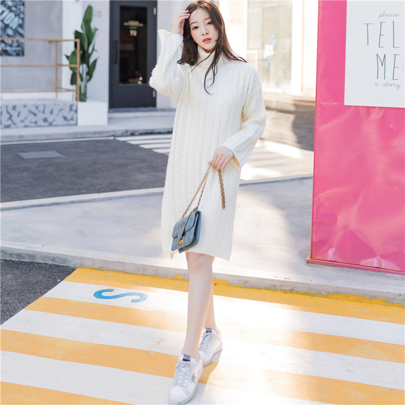Turtleneck Pullover Dress 2-Dresses-[korean fashion]-[korean clothing]-[korean style]-SOO・JIN