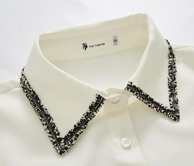 Patterned Collar & Cuff Blouse Shirt-Blouses & Shirts-[korean fashion]-[korean clothing]-[korean style]-SOO・JIN