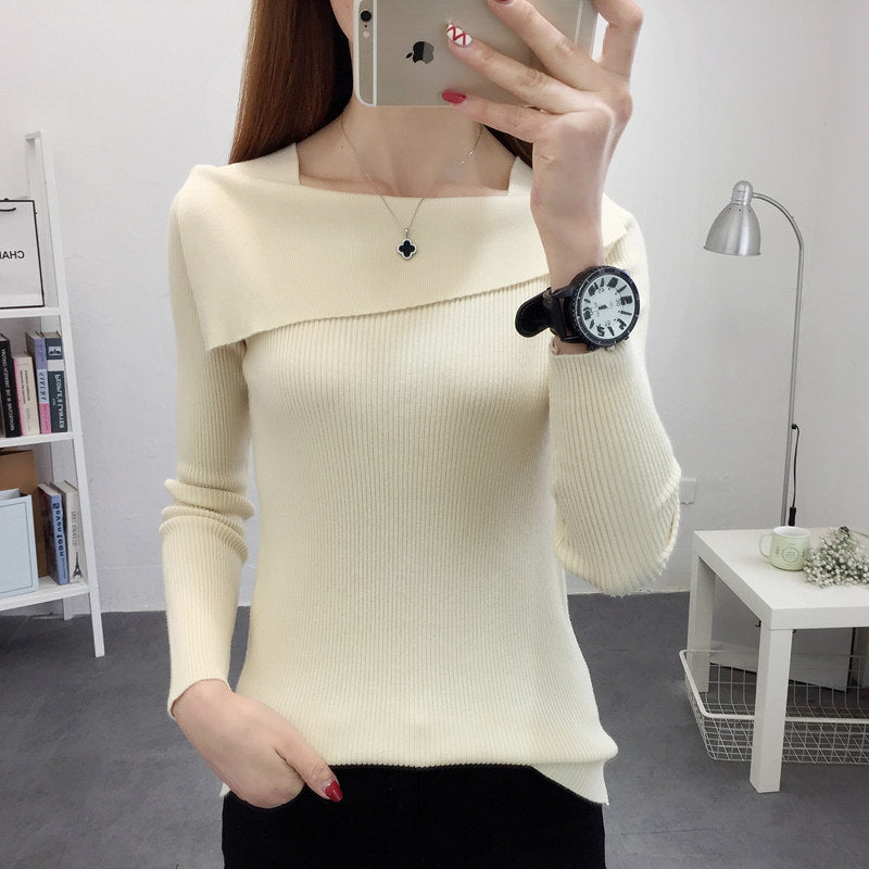 Lapel Bottoming Tight Flexible Pullover