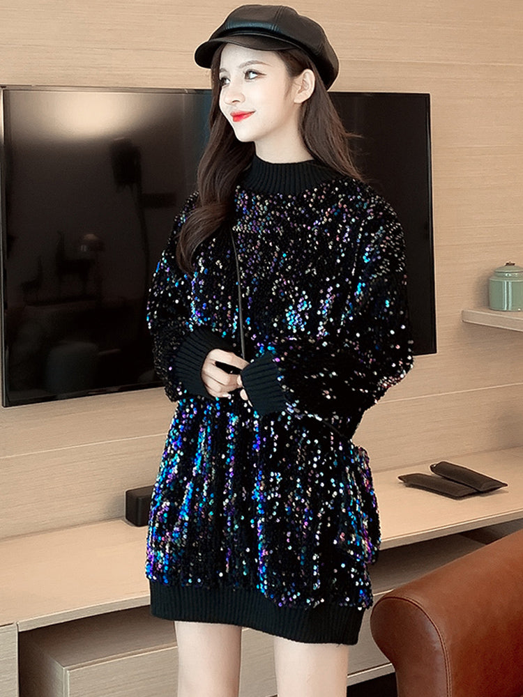 A13B Mid-Length Thick Sequins Pullover