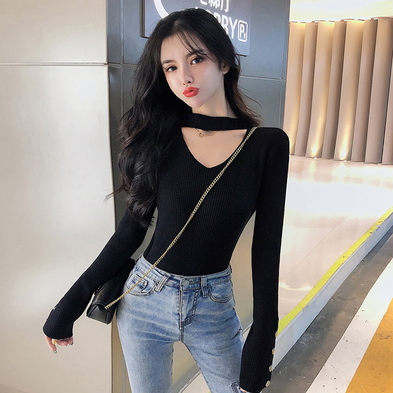 A11M  Round Neck Knitted Bottoming Top