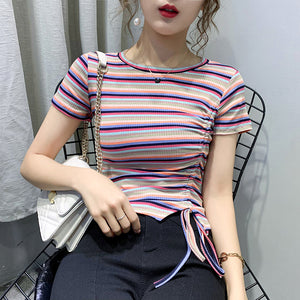 Round Neck Colorful Tops