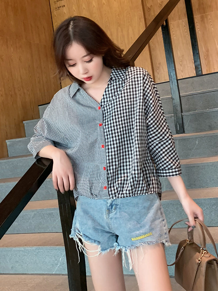 A24L Fashion Color Matching Plaid Shirt