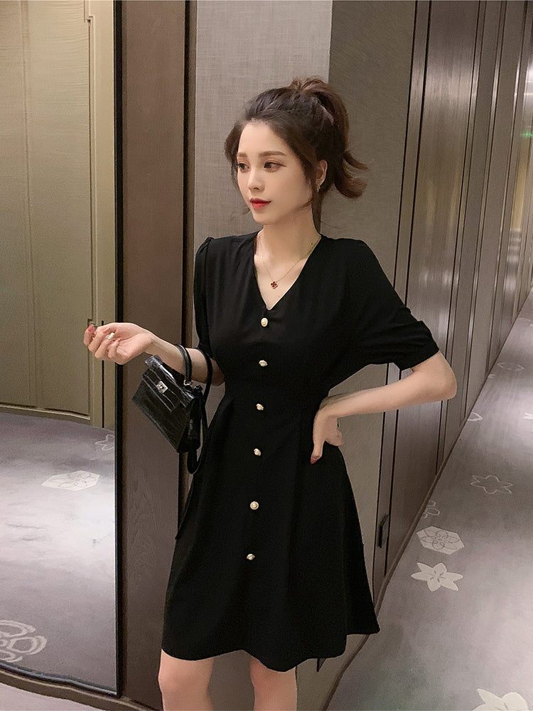 A27L High Waist Slimming Chiffon Dress