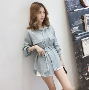 A36B Striped Pocket Style Loose Shirt