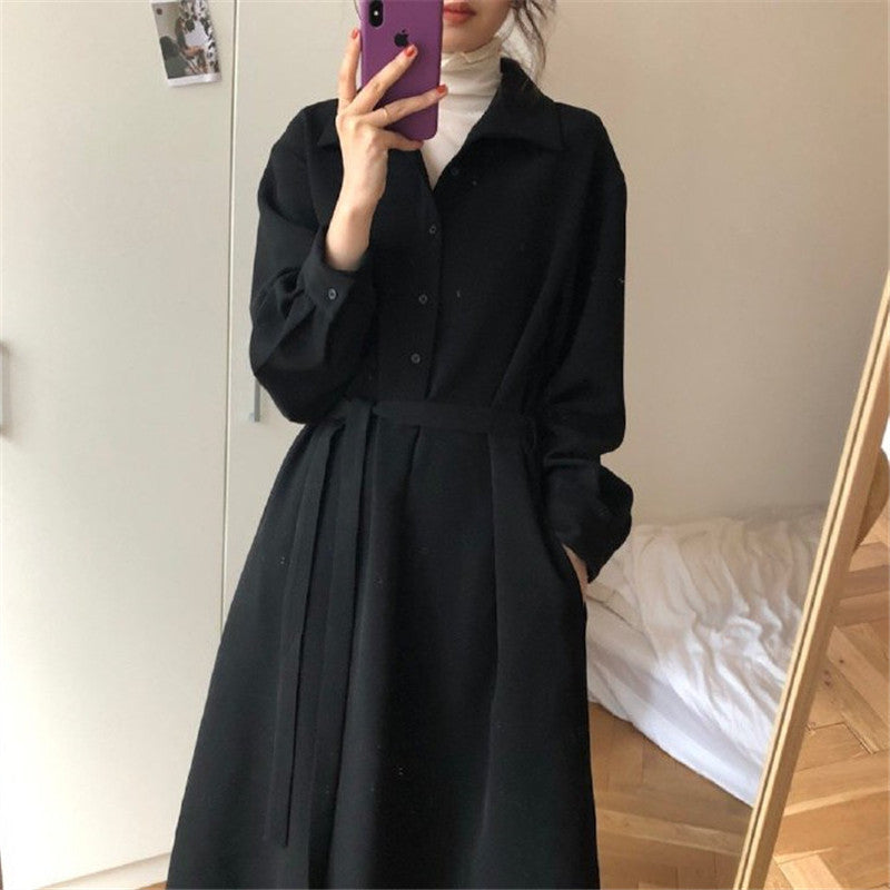 A12F POLO Collar Thick Loose Dress