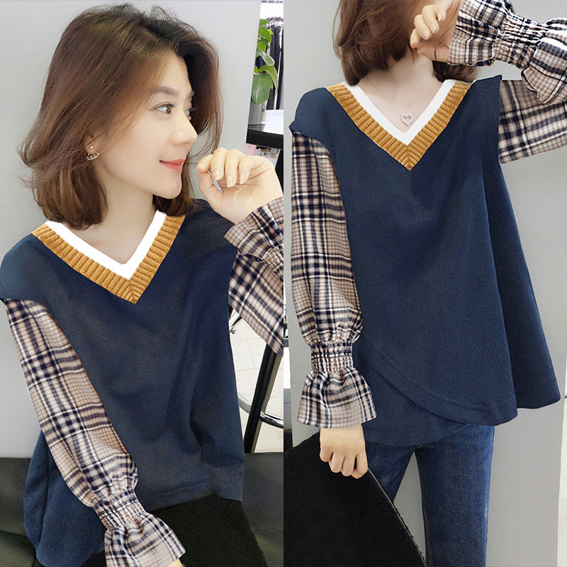 A18E Mock Two-Piece Knitted Stitching Shirt