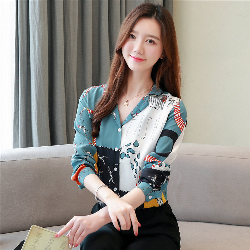 Chiffon Blouse Flower Design Shirt