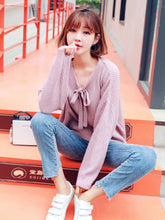 Cute Tie Loose Top-Blouses & Shirts-[korean fashion]-[korean clothing]-[korean style]-SOO・JIN