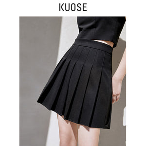 Black College Pleated Skirt