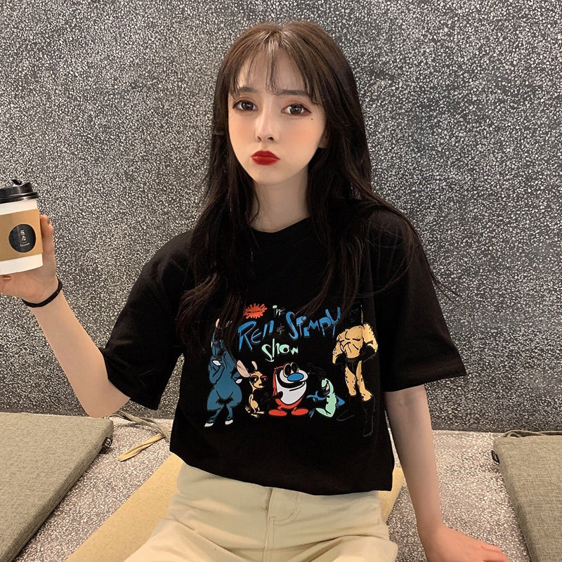 A35i Loose Cartoon Anime Short Sleeve Shirt