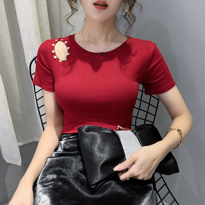 Slimming Shoulder Hole Fashion T-shirt