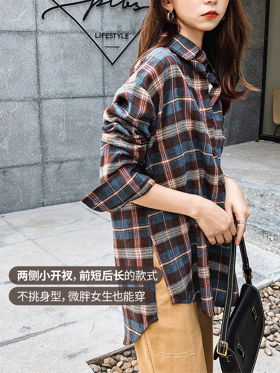 A15G Mid-length Long-sleeved Plaid Shirt