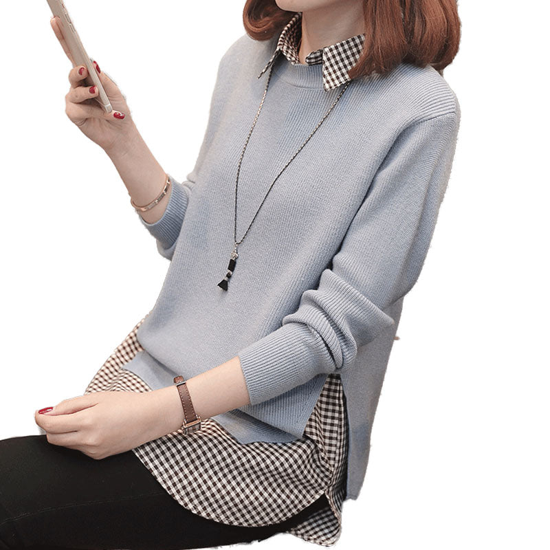 A12Q  Smooth Two-set  Shirt type Pullover