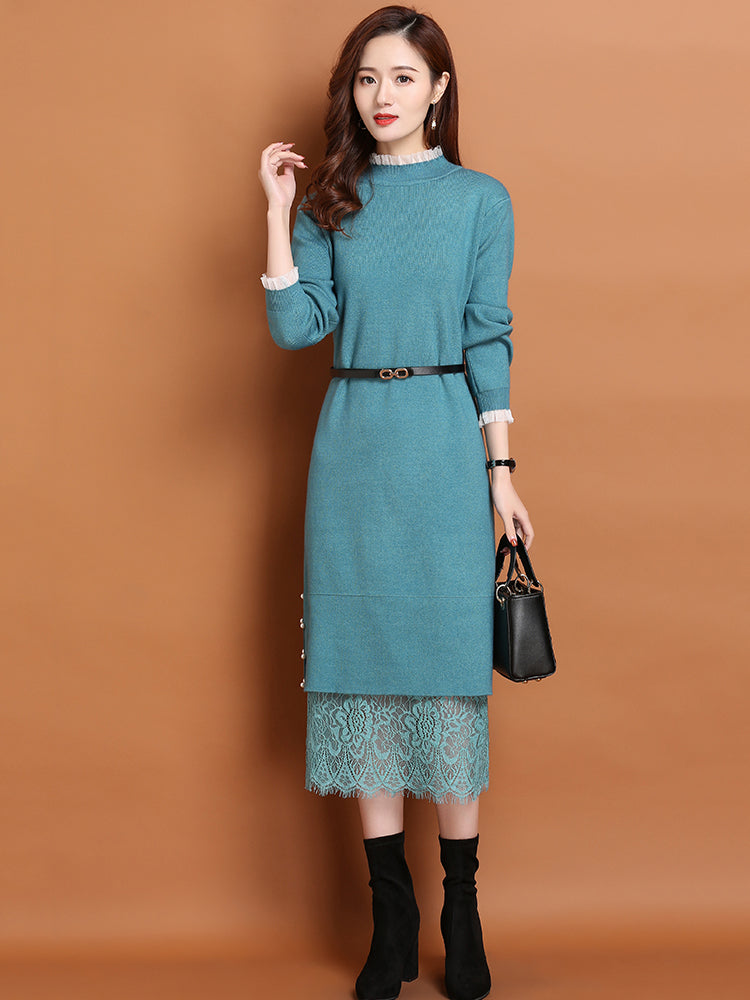 A16K Inner Skirt Lace Stitching Knit Dress