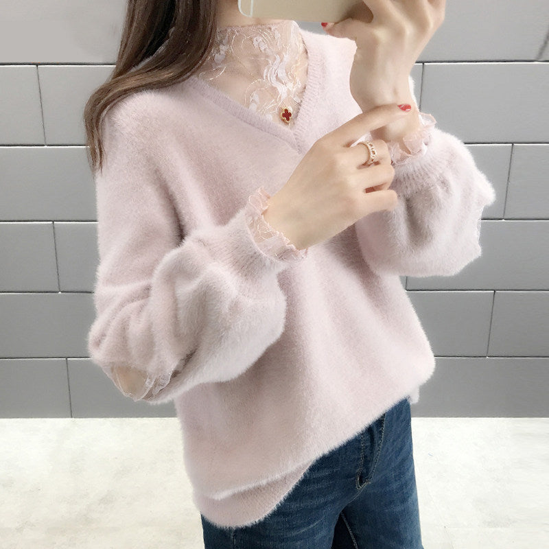 V-neck Loose Warm Pullover
