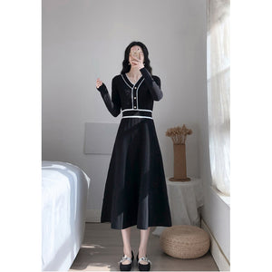 A16A  Hemming Striped Hepburn Style Dress