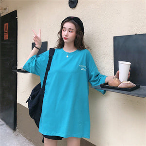 Round Neck Mid-Length Loose Summer T-Shirt