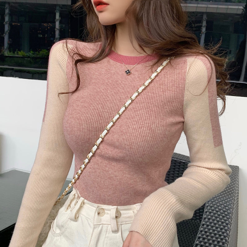 A28Q Thickened Long-sleeved Slim-in Contrast Sweater