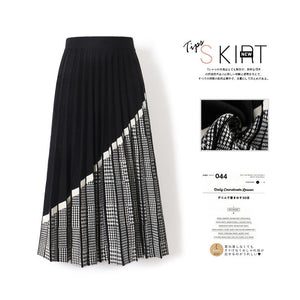 Hounds tooth knitted Elastic Skirt