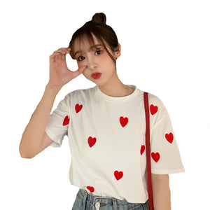 A36T Hearts Design Sweet Short Sleeve Top