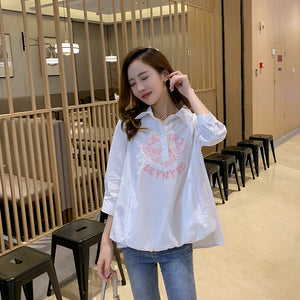 A24D Ladies Doll Collar Puffy Sleeve Chiffon Top