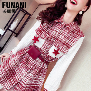 Mock Two Plaid Dress