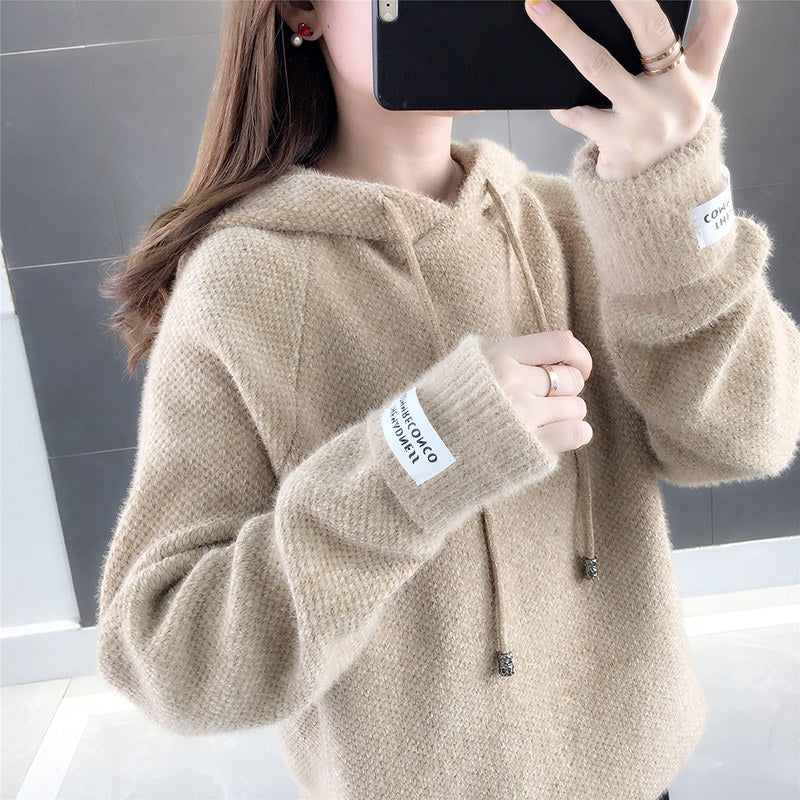 Fuzzy Loose Hooded  Pullover