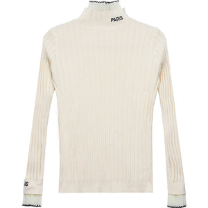 A14G New Temperament Letters Turtleneck Pullover
