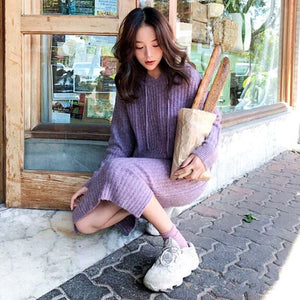 A31B Mid-length Over-the-knee Loose lazy Sweater Dress