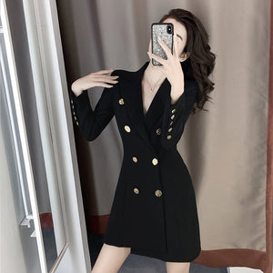 Royal Slim Black Suit Dress