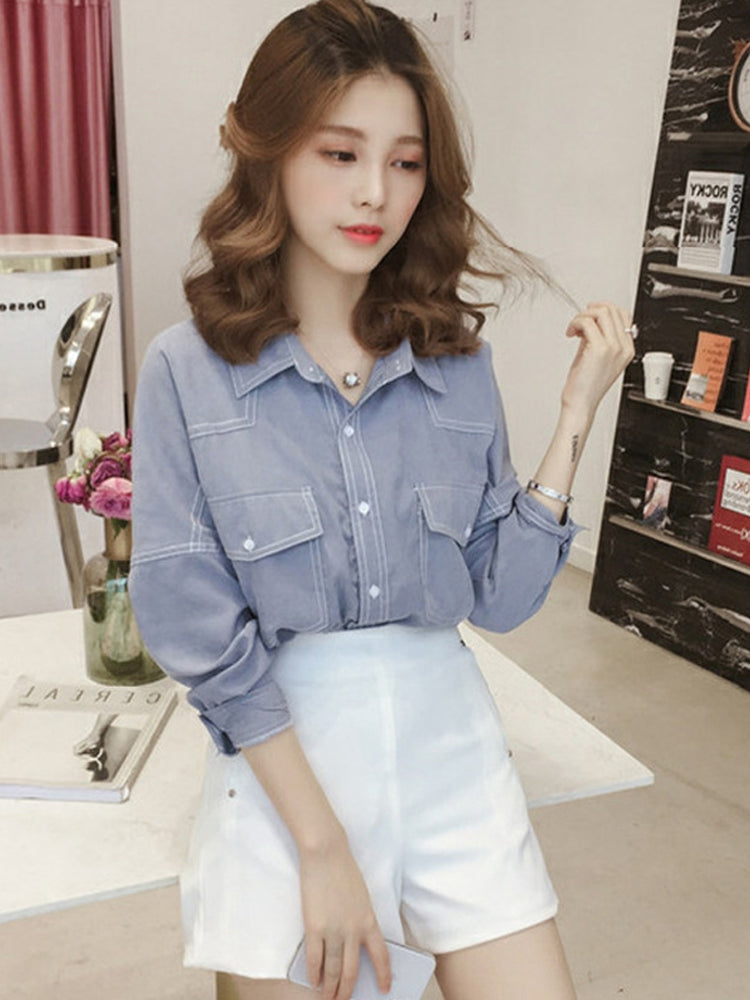 A28D Top Student Chic Loose Leisure Shirt