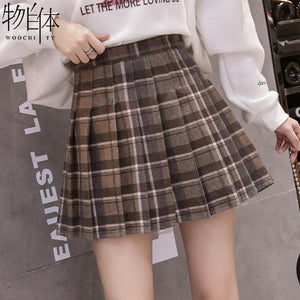 A20Z New Outer Wear Plaid Pleated Skirt