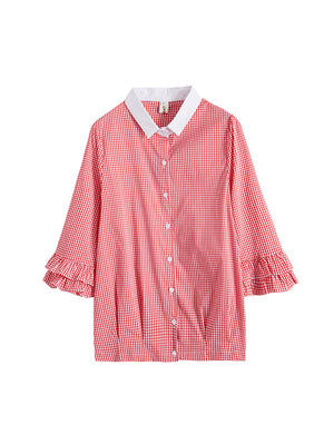 A25D Doll Collar Loose Flared Sleeve Top